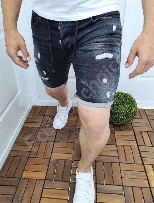 Мъжки къси дънки в черен деним с бели кръпки-код 2424