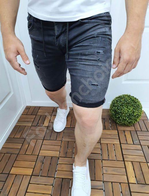 Мъжки къси дънки с надран ефект в черен деним-код 2425