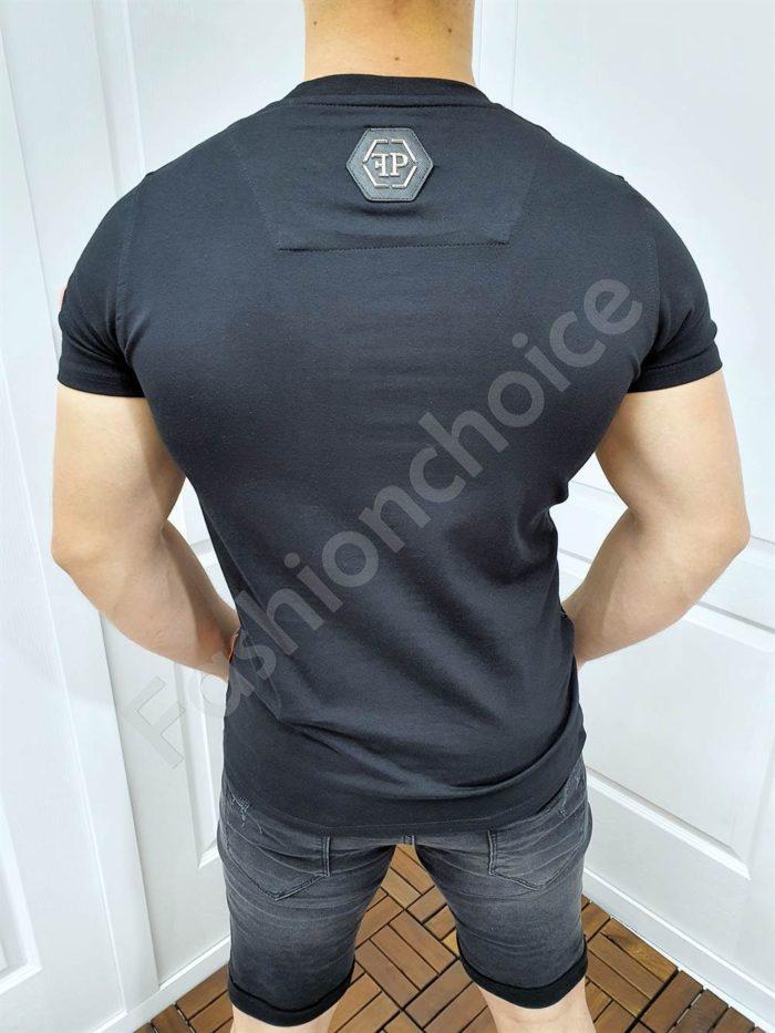 Мъжка тениска с цветни камъчета и моден надпис-код 4511