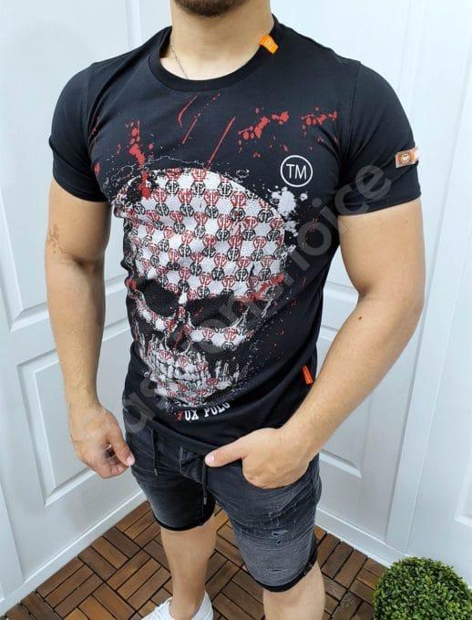 Мъжка тениска с ефектен череп и камъчета-код 4521