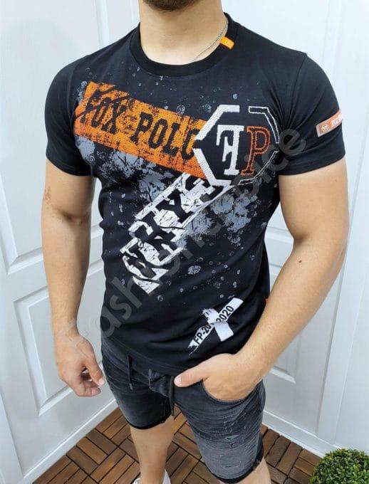 Мъжка тениска с ефектни камъчета и надпис FOX POLO-код 4517