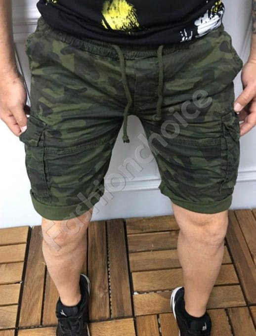 Мъжки къси карго панталони в камуфлажен десен-код 317