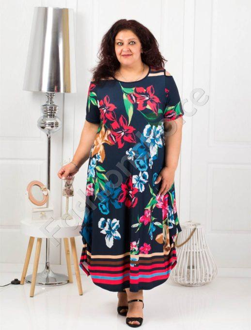 Чаровна дълга макси рокля с отвори на раменете в синьо-код 824