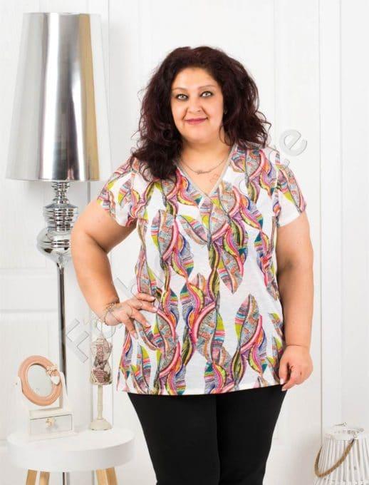 Лятна макси блузка с остро деколте и цветни нюанси-код 20019