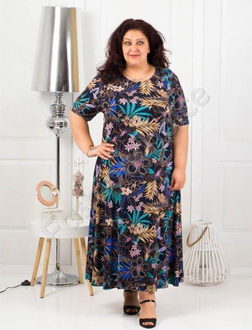 Красива дълга макси рокля в тъмносин десен на цветя-код 088-7
