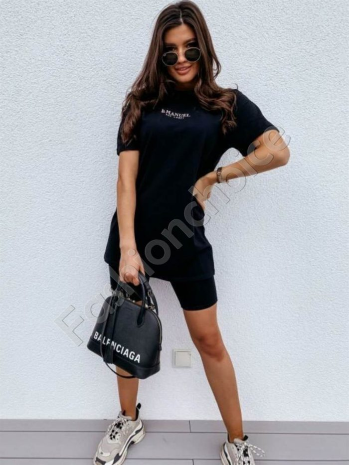 Дамски комплект с клин и тениска в черно Код 953