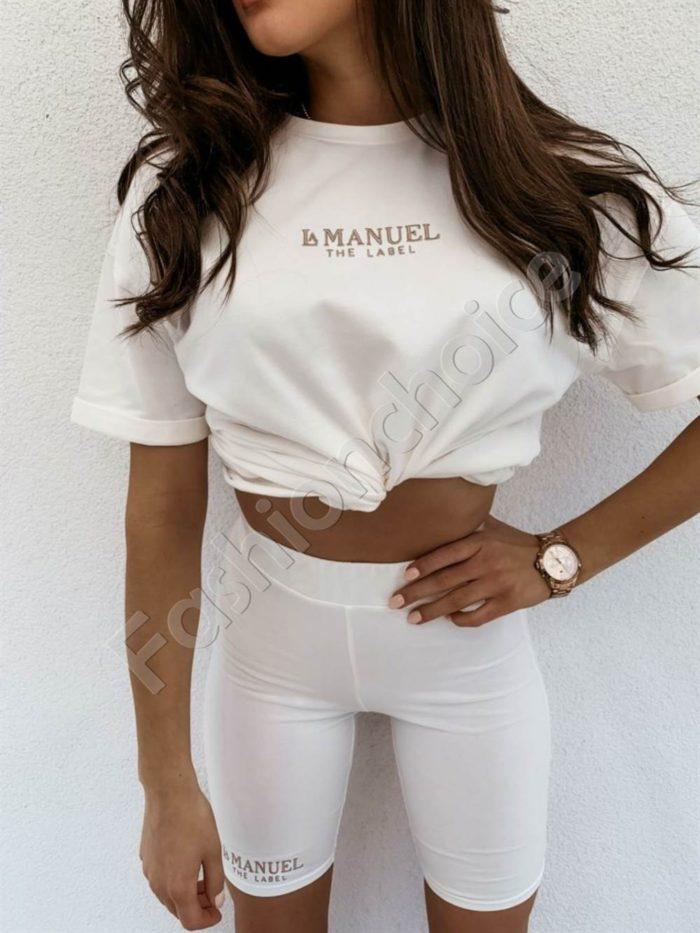 Дамски комплект MANUEL с клин и тениска в бяло Код 953-1