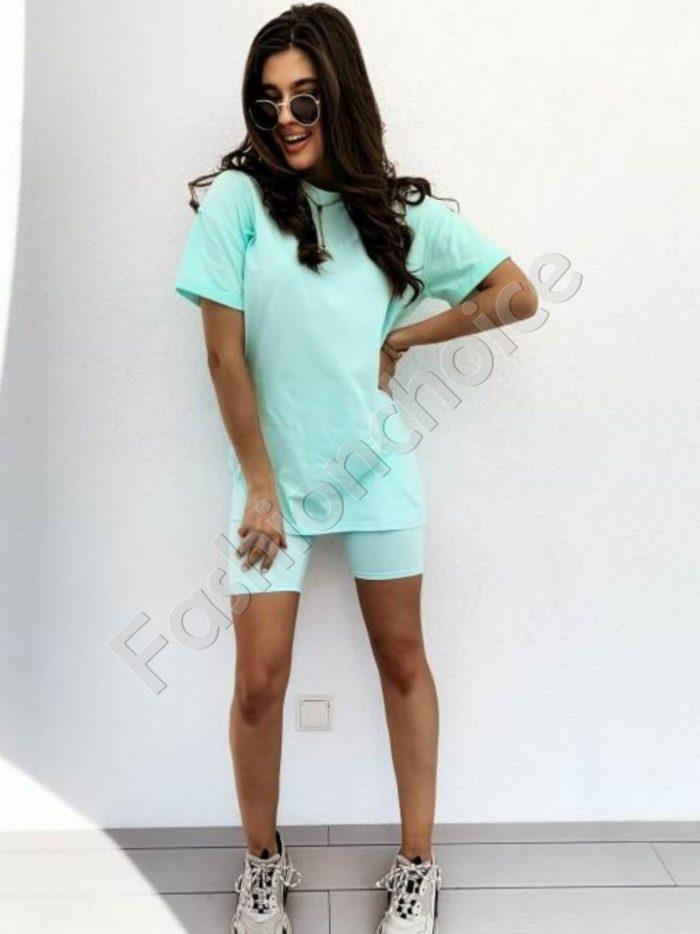 Дамски сет MANUEL с клин и тениска в цвят мента Код 953-3