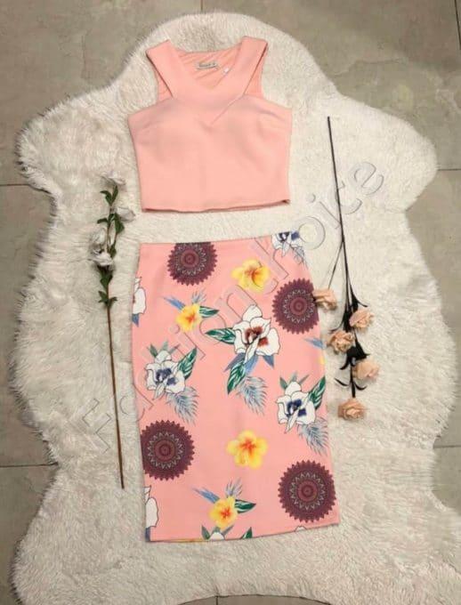 Дамски комплект от пола и топ в розово код-952