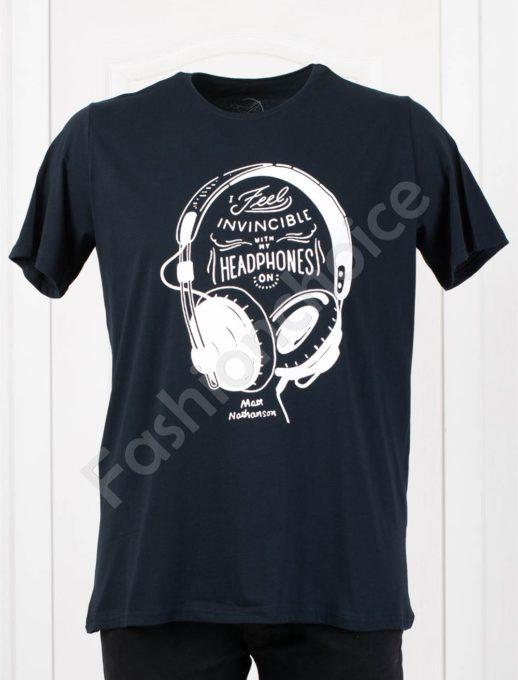 Мъжка макси тениска с щампа слушалки в тъмносиньо/3XL-8XL/-код 113-1
