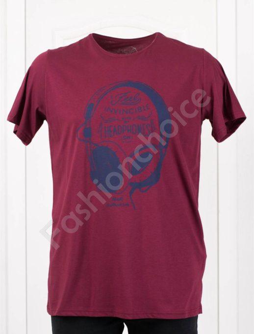 Мъжка макси тениска с щампа слушалки в бордо/3XL-8XL/-код 113