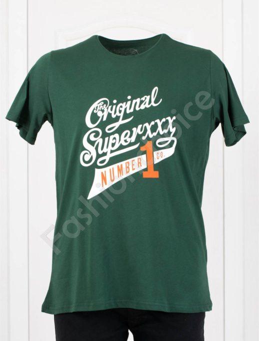 Мъжка макси тениска с щампа ORIGINAL в маслено зелено-код 117-1