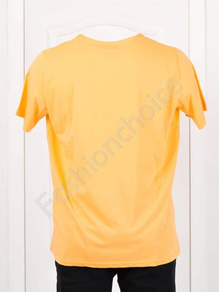 Мъжка макси тениска с щампа CHAMPION в цвят горчица-код 118