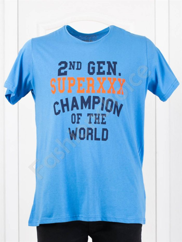 Мъжка макси тениска с щампа CHAMPION в тъмносиньо-код 118-3
