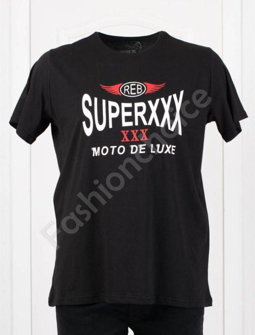 Мъжка макси тениска MOTO DE LUXE в черно/3XL-8XL/-код 116