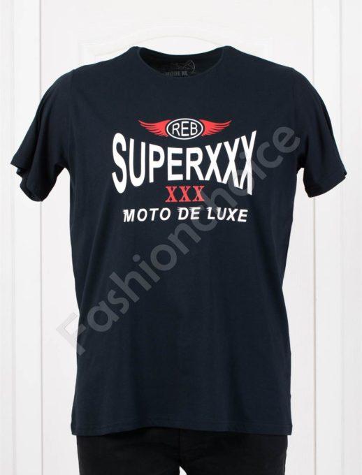 Мъжка макси тениска MOTO DE LUXE в тъмносиньо/3XL-8XL/-код 116-1