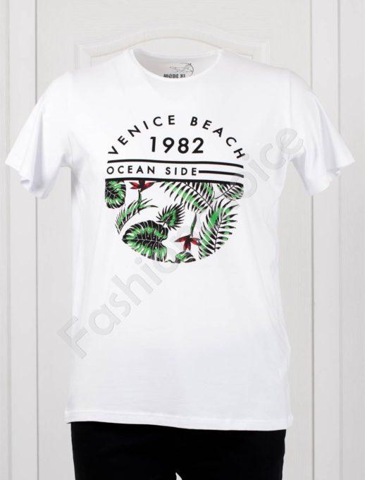 Мъжка макси тениска с щампа OCEAN SIDE в бяло/3XL-10XL/-код 100-1