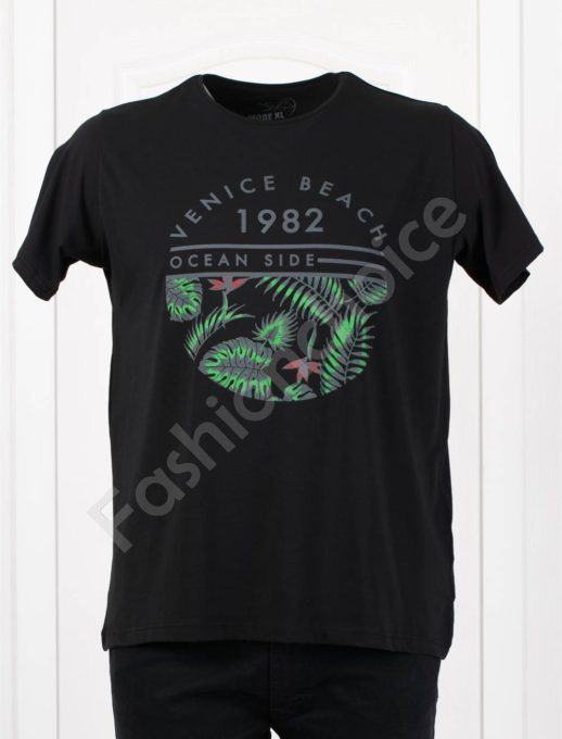 Мъжка макси тениска с щампа OCEAN SIDE в черно/3XL-10XL/-код 100