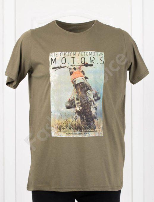 Мъжка макси тениска с щампа MOTORS в цвят каки/3XL-8XL/-код 115-1