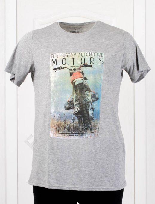 Мъжка макси тениска с щампа MOTORS в светлосиво/3XL-8XL/-код 115-2