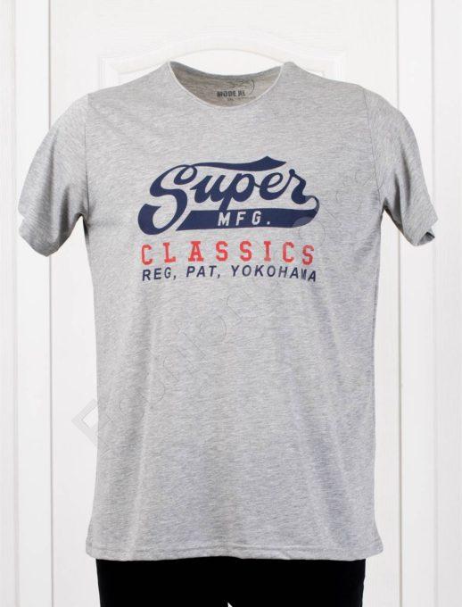 Мъжка макси тениска с щампа SUPER в светлосиво-код 119-2