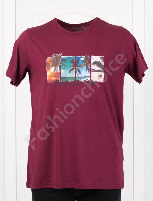 Мъжка макси тениска с щампа BEACH в бордо/3XL-8XL/-код 121