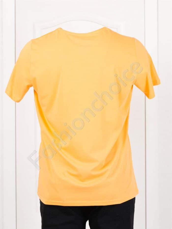 Мъжка макси тениска с щампа BEACH в цвят горчица/3XL-8XL/-код 121-1