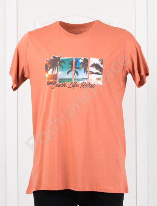 Мъжка макси тениска с щампа BEACH в цвят керемида/3XL-8XL/-код 121-2