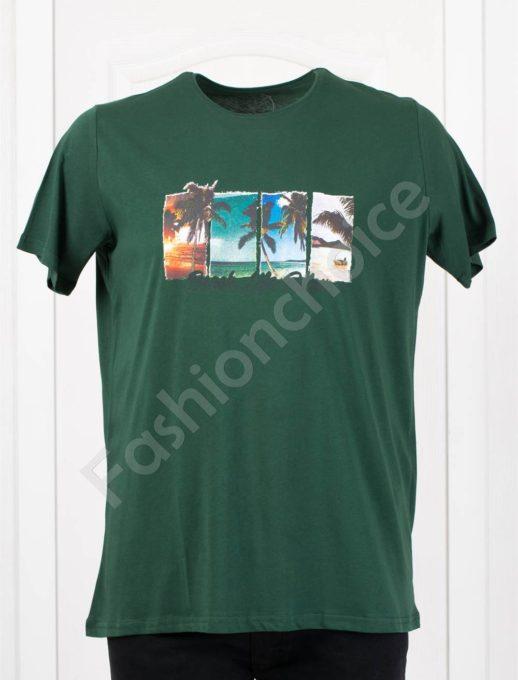 Мъжка макси тениска с щампа BEACH в маслено зелено/3XL-8XL/-код 121-3
