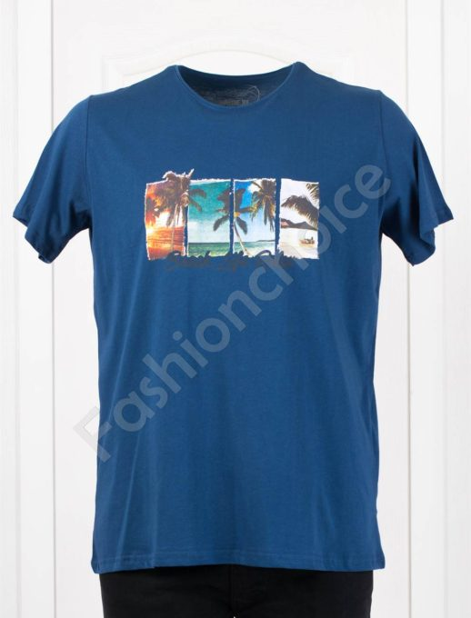 Мъжка макси тениска с щампа BEACH цвят парламент/3XL-8XL/-код 121-4