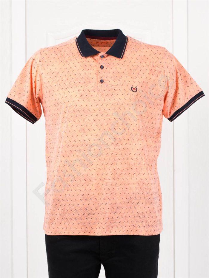 Мъжка макси блузка с черна якичка в цвят пудра/3XL-10XL/-код 403-1