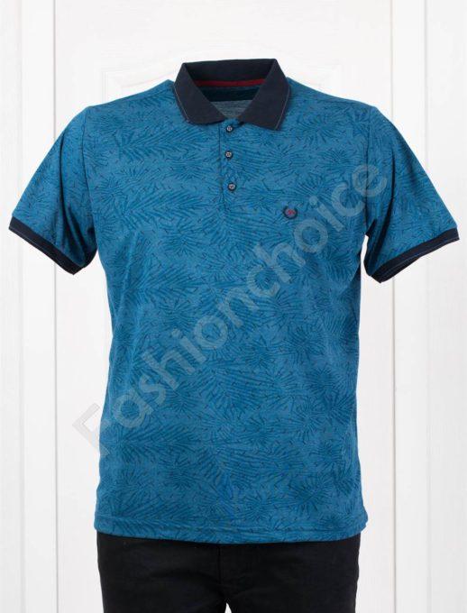 Мъжка макси блузка с черна якичка в цвят парламент/3XL-10XL/-код 20403