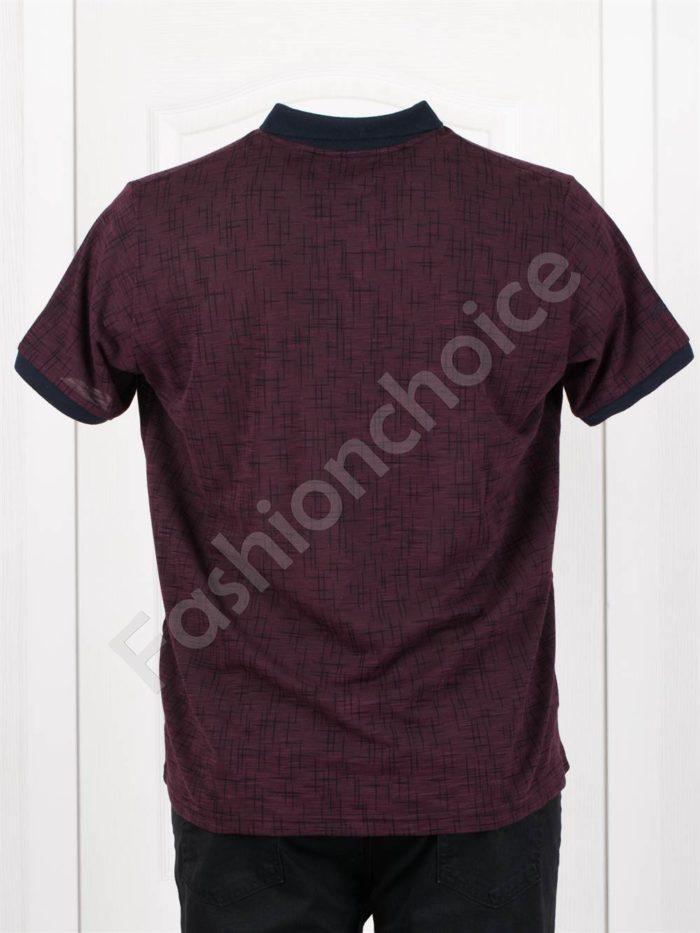 Мъжка макси блузка с якичка в цвят бордо/3XL-10XL/-код 406