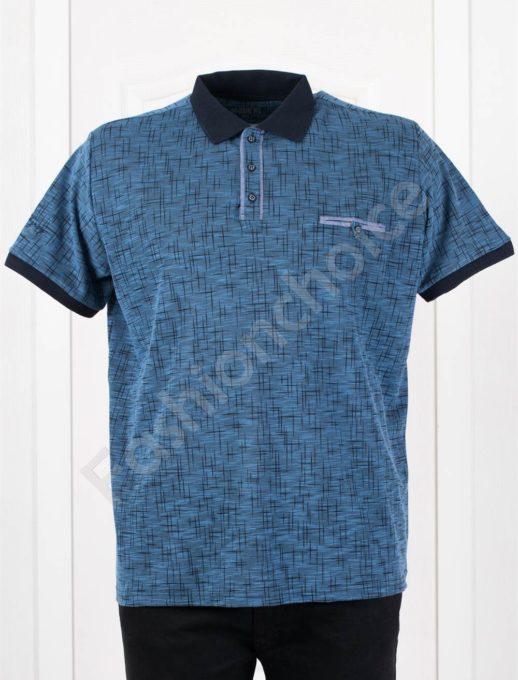 Мъжка макси блузка с якичка в цвят парламент/3XL-10XL/-код 406-3