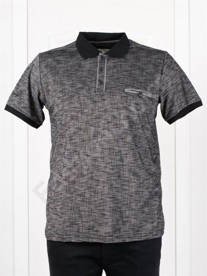 Мъжка макси блузка с якичка в черно/3XL-10XL/-код 406-2