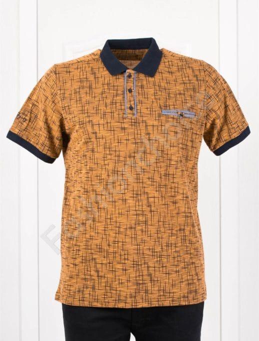 Мъжка макси блузка с якичка в цвят горчица/3XL-10XL/-код 406-1