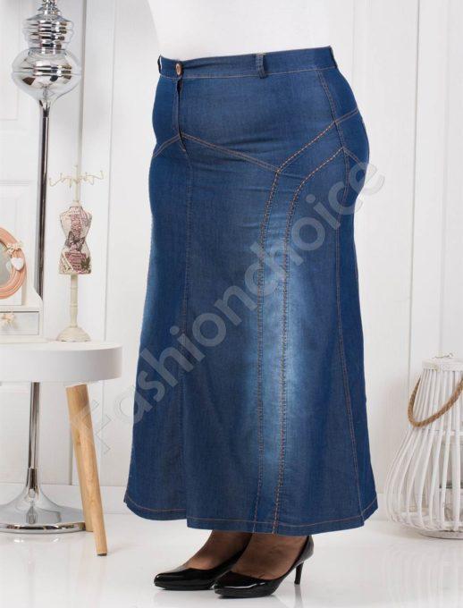 Елегантна макси дънкова пола от тънък летен деним-Код 1071