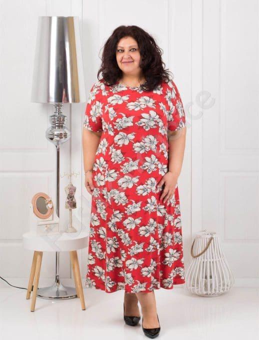 Красива дълга макси рокля в червено на бели цветя-код 088-4