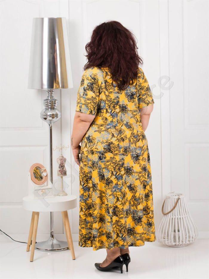 Красива дълга макси рокля на цветя в цвят горчица-код 088-5