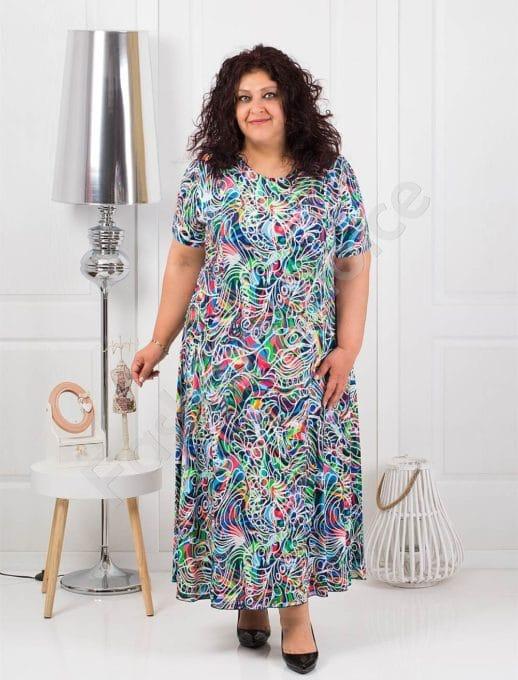 Разкроена дълга макси рокля в син цветен десен-код 1110-4