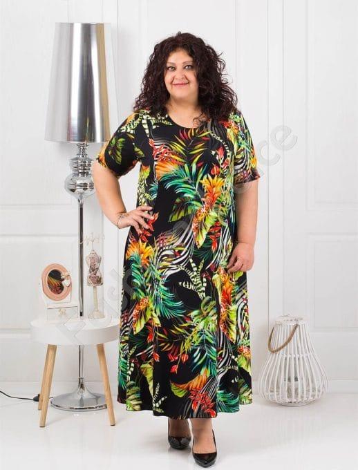 Разкроена дълга макси рокля в свеж черен десен-код 1110-5