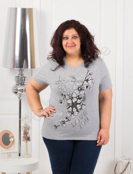 Приятна макси блузка с щампа на цветя в сиво