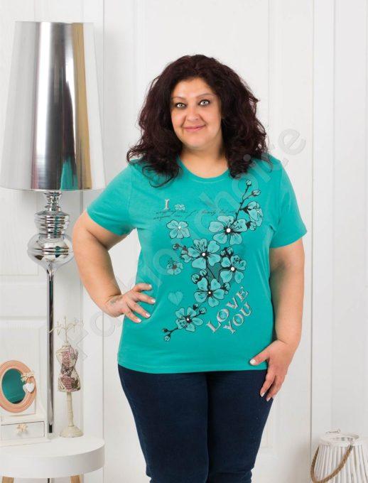 Приятна макси блузка с щампа на цветя-мента-код 4063-3