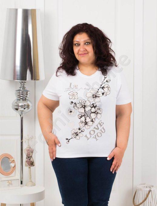 Приятна макси блузка с щампа на цветя в бяло-код 4063