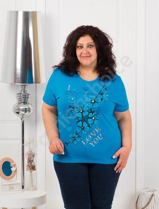 Приятна макси блузка с щампа на цветя-тюркоаз-код 4063-7