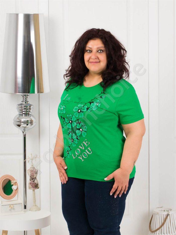 Приятна макси блузка с щампа на цветя в зелено-код 4063-4