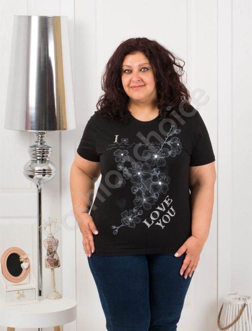 Приятна макси блузка с щампа на цветя в черно