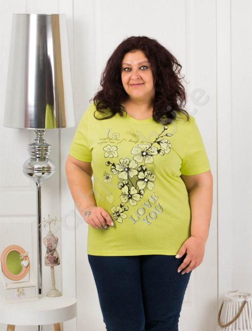 Приятна макси блузка с щампа на цветя-резеда-код 4063-2