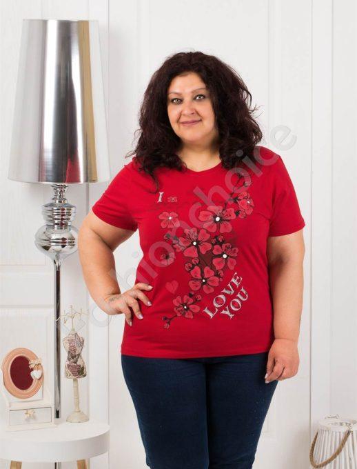 Приятна макси блузка с щампа на цветя в червено-код 4063-6