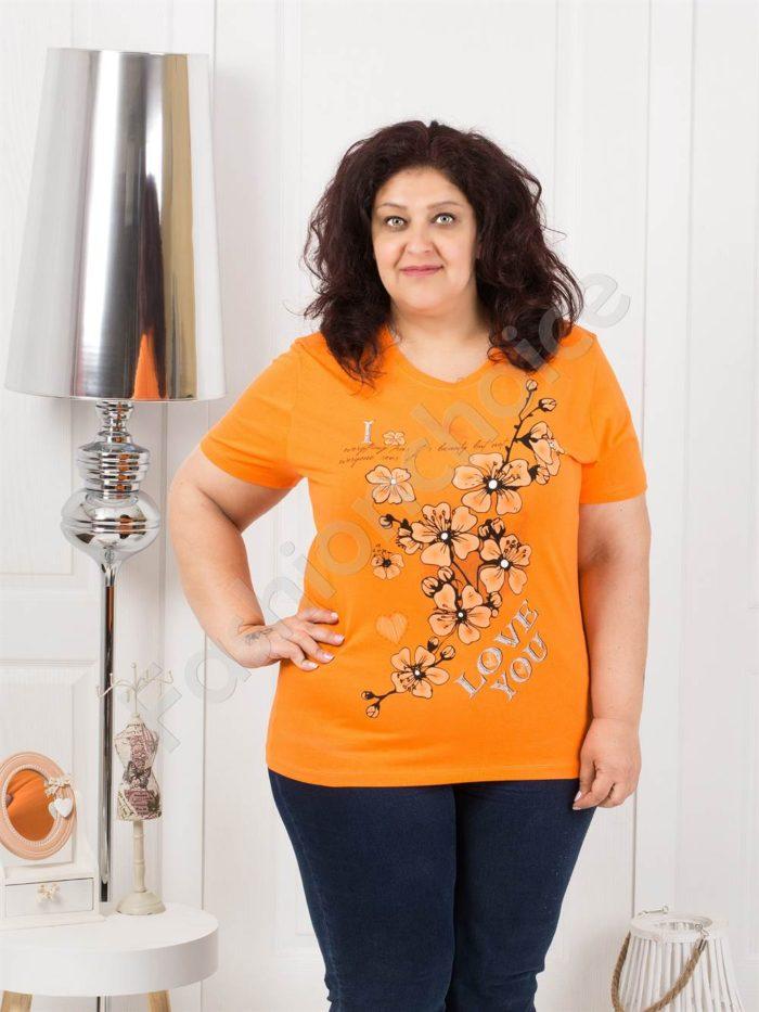 Приятна макси блузка с щампа на цветя-оранж-код 4063-9